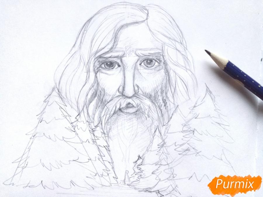 Рисуем бога зимы Зюзю карандашами - шаг 6