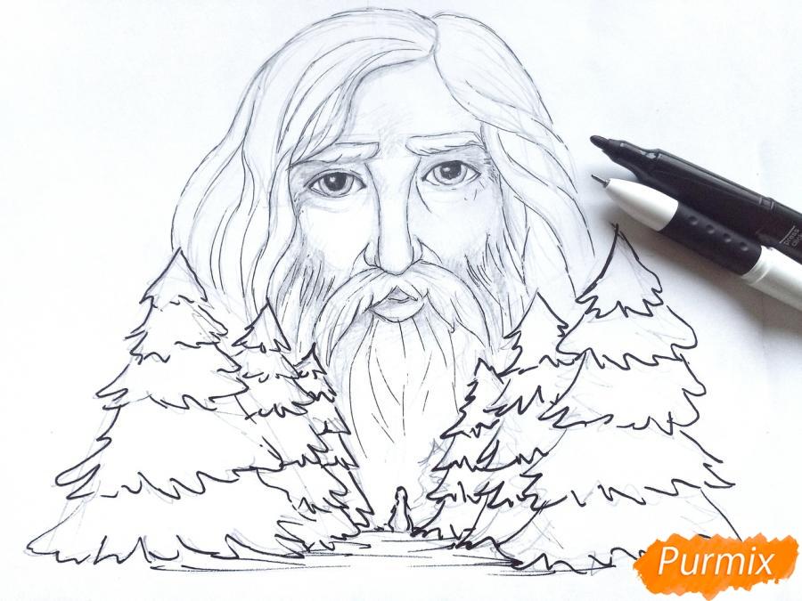 Рисуем бога зимы Зюзю карандашами - шаг 7