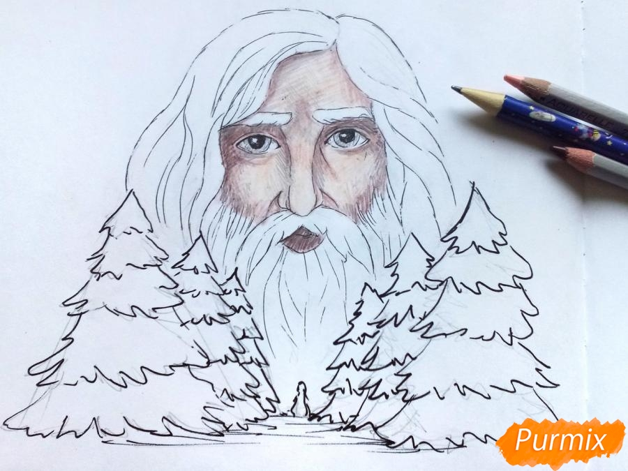 Рисуем бога зимы Зюзю карандашами - шаг 8