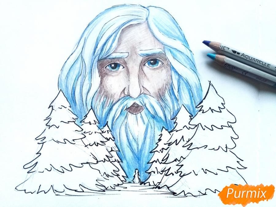 Рисуем бога зимы Зюзю карандашами - шаг 9