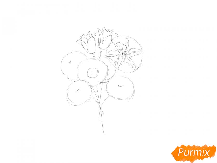 Рисуем букет цветов - шаг 3