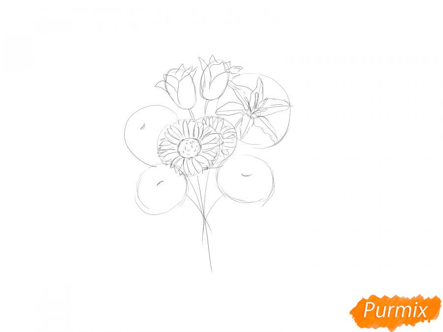 Рисуем букет цветов - шаг 4