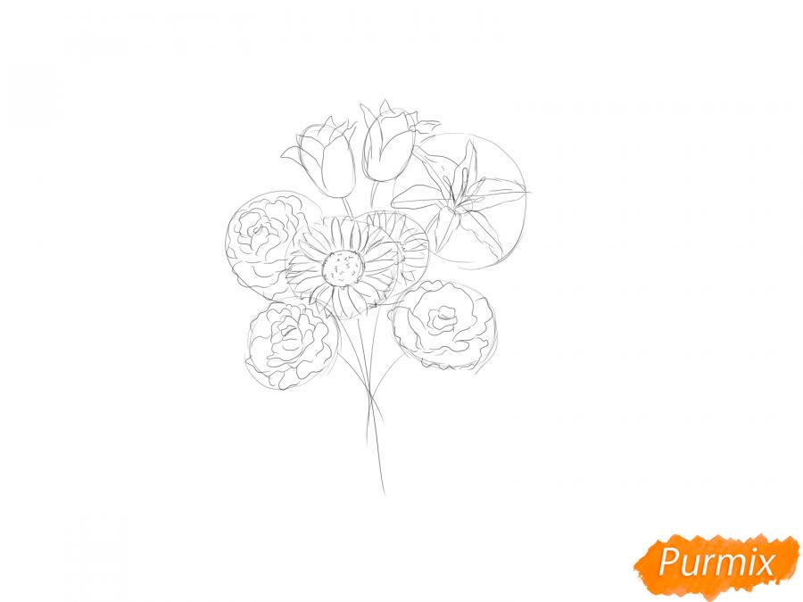 Рисуем букет цветов - шаг 5