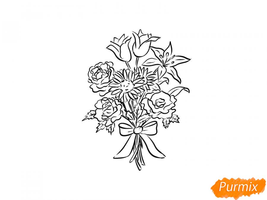 Рисуем букет цветов - шаг 7