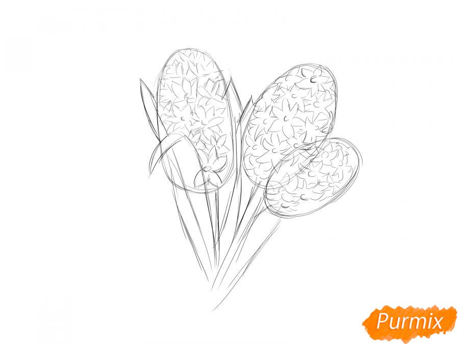 Рисуем букет гиацинтов - шаг 3
