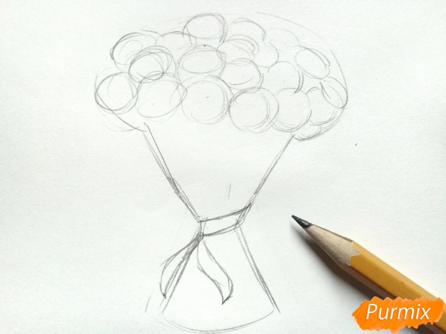 Рисуем букет гвоздик карандашами или акварелью - шаг 2