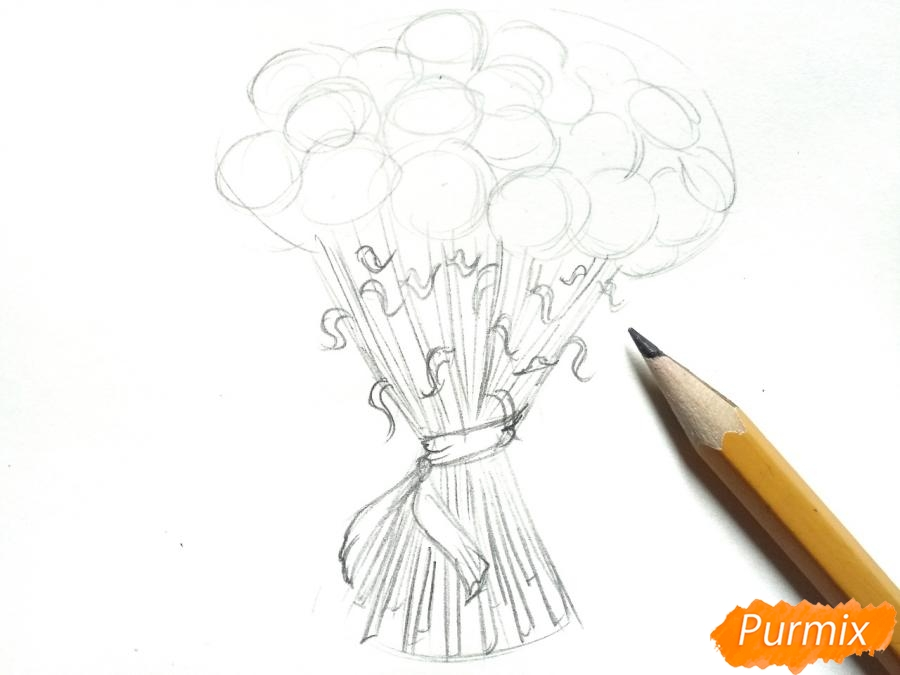 Рисуем букет гвоздик карандашами или акварелью - шаг 3