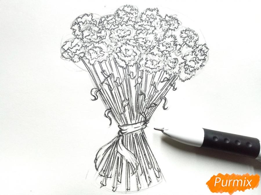 Рисуем букет гвоздик карандашами или акварелью - шаг 5