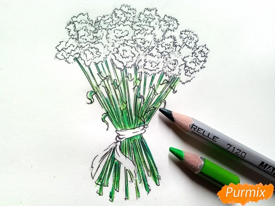 Рисуем букет гвоздик карандашами или акварелью - шаг 6