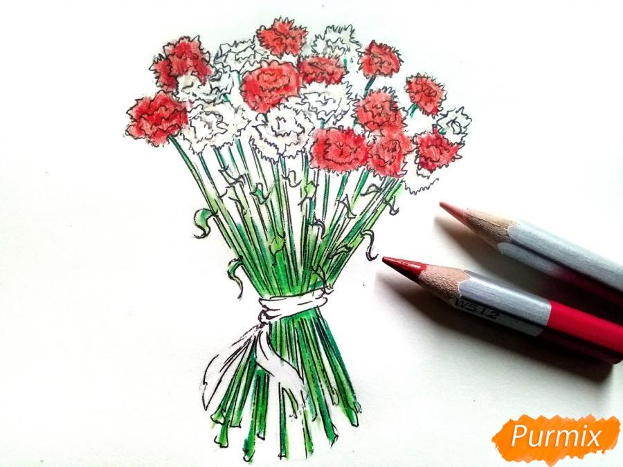 Рисуем букет гвоздик карандашами или акварелью - шаг 7