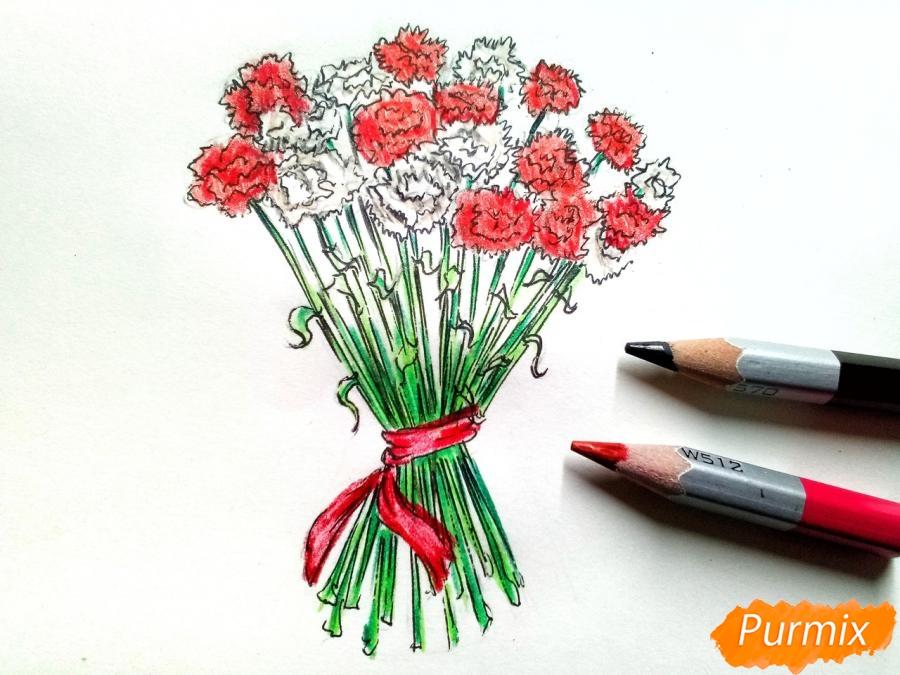 Рисуем букет гвоздик карандашами или акварелью - шаг 8