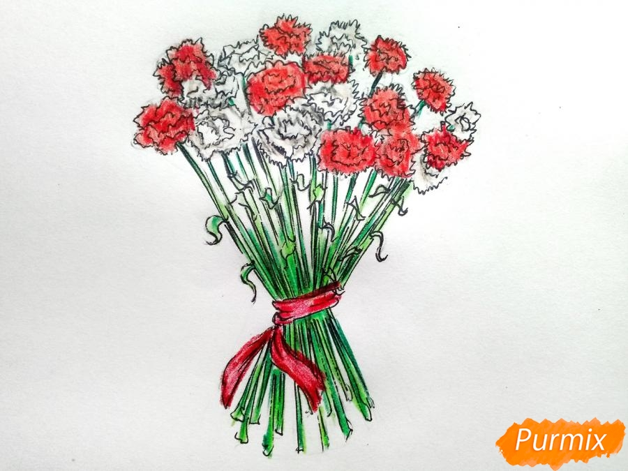 Рисуем букет гвоздик карандашами или акварелью - шаг 9
