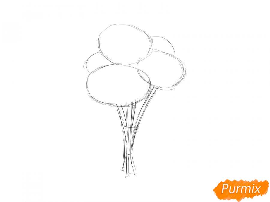 Рисуем букет хризантем - шаг 2