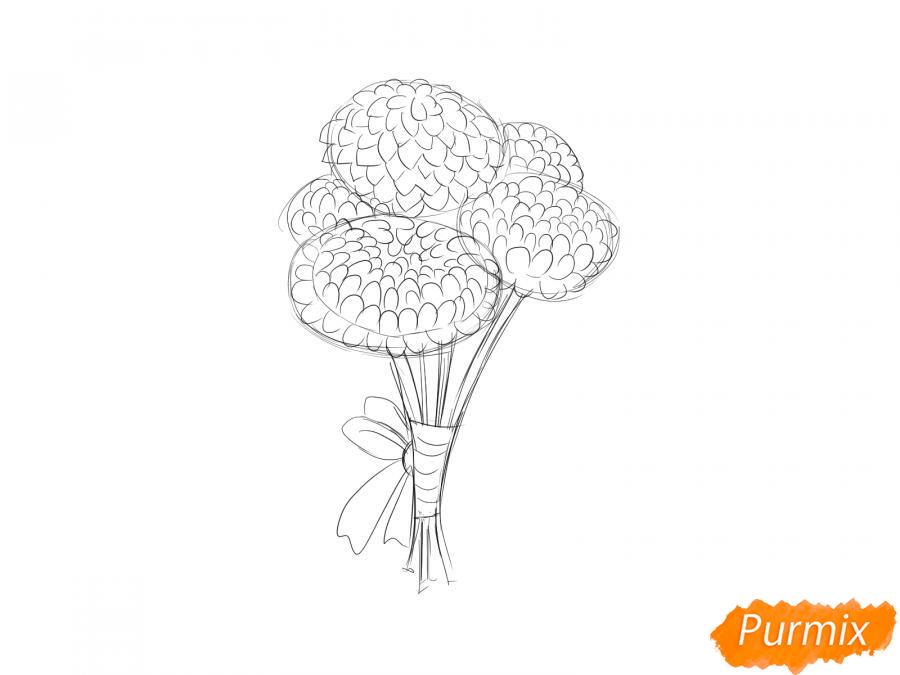 Рисуем букет хризантем - шаг 4