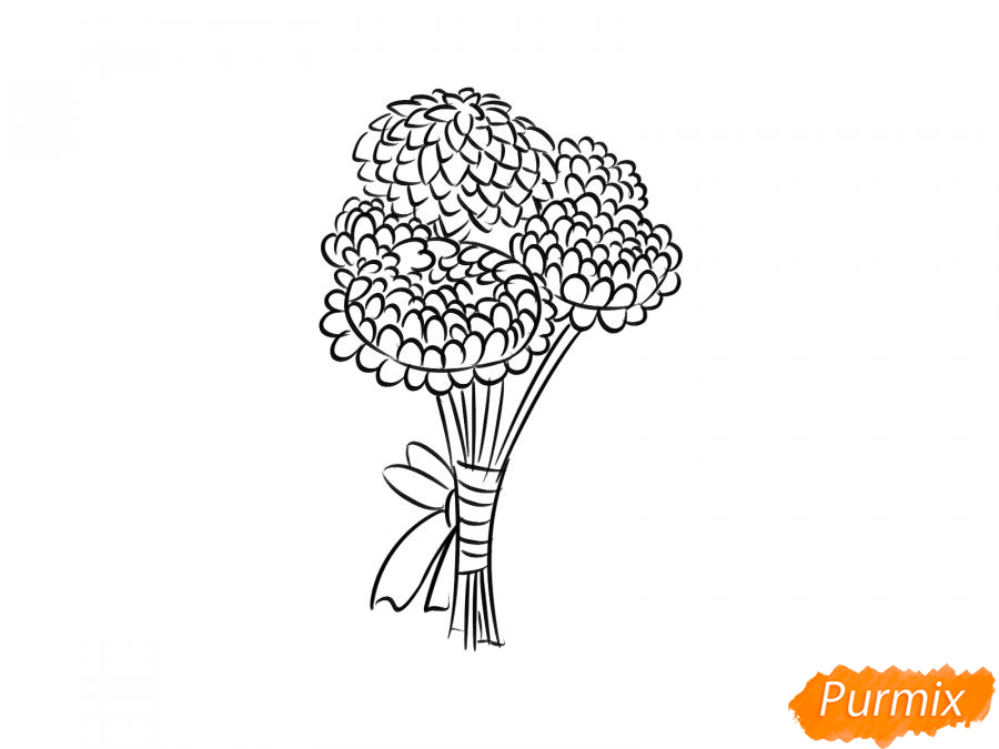 Рисуем букет хризантем - шаг 5