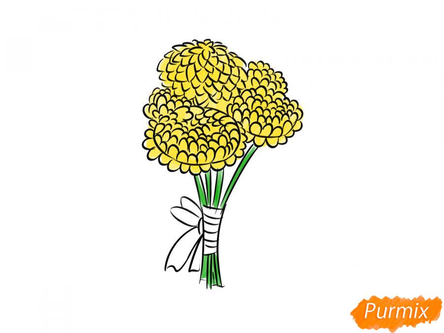 Рисуем букет хризантем - шаг 7