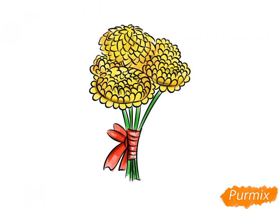Рисуем букет хризантем - шаг 8