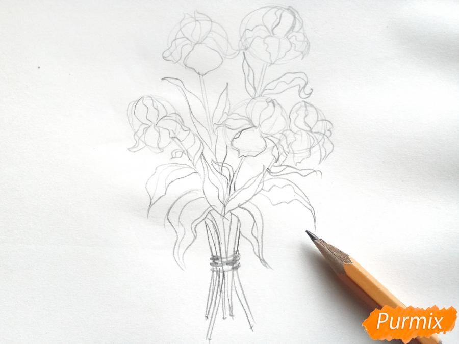 Рисуем букет ирисов цветными карандашами - шаг 4