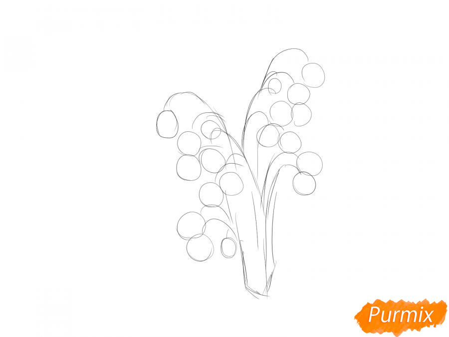 Рисуем букет ландышей - шаг 2