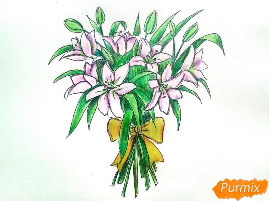 Рисуем букет лилий цветными карандашами - шаг 10