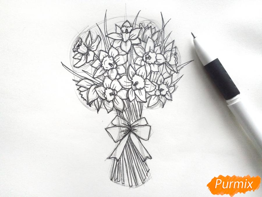 Рисуем букет нарциссов цветными карандашами - шаг 6