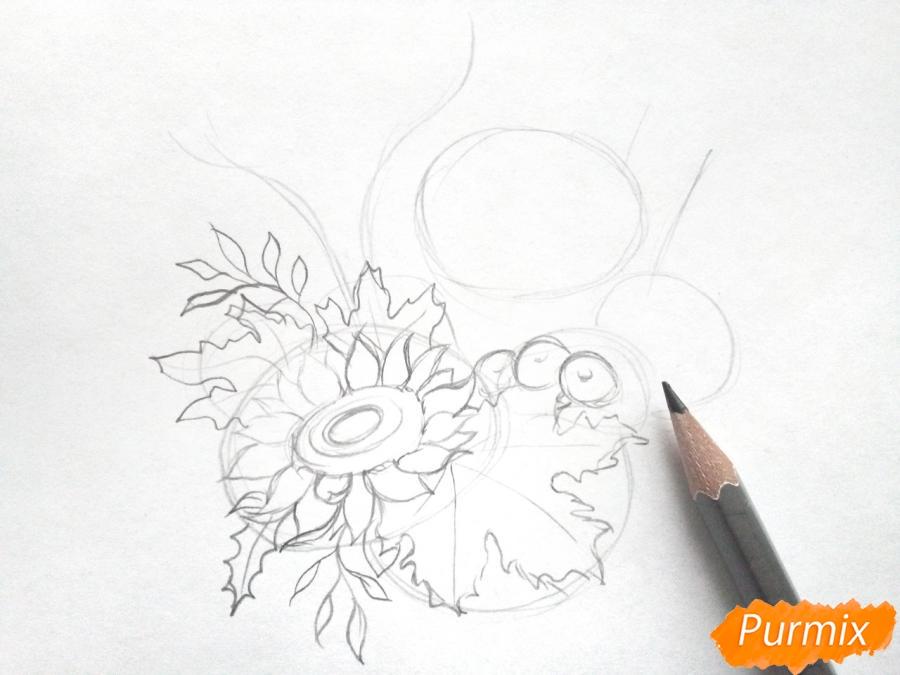 Рисуем букет осенних цветов - шаг 2
