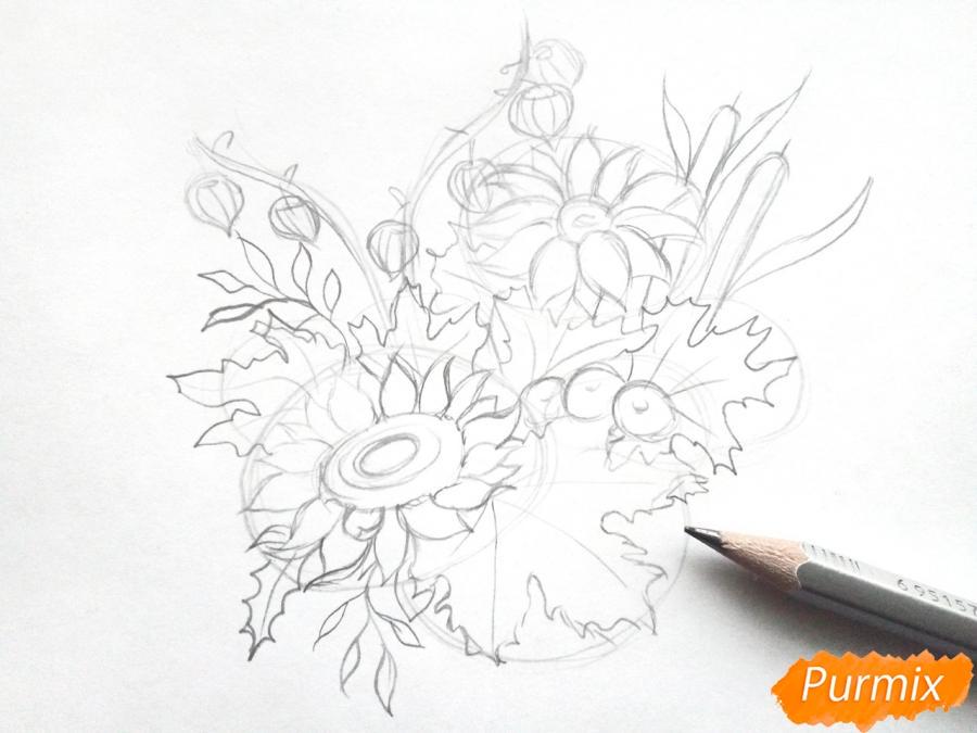 Рисуем букет осенних цветов - шаг 3