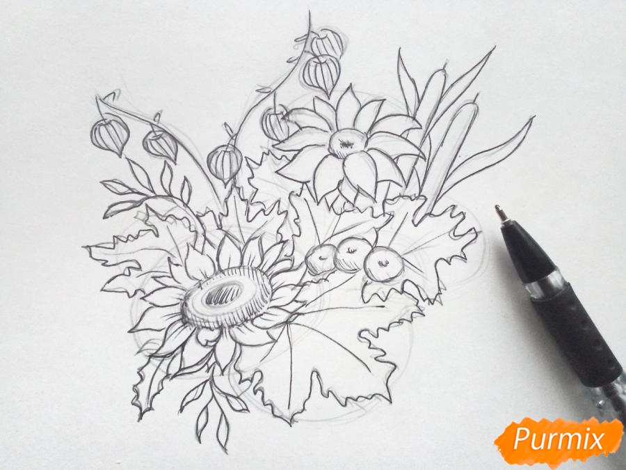 Рисуем букет осенних цветов - шаг 4