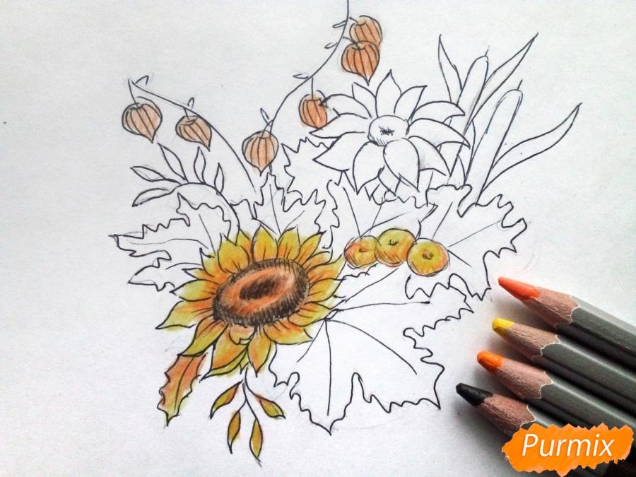 Рисуем букет осенних цветов - шаг 5
