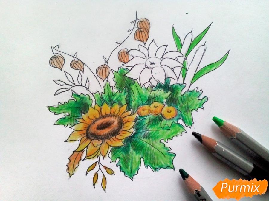 Рисуем букет осенних цветов - шаг 6