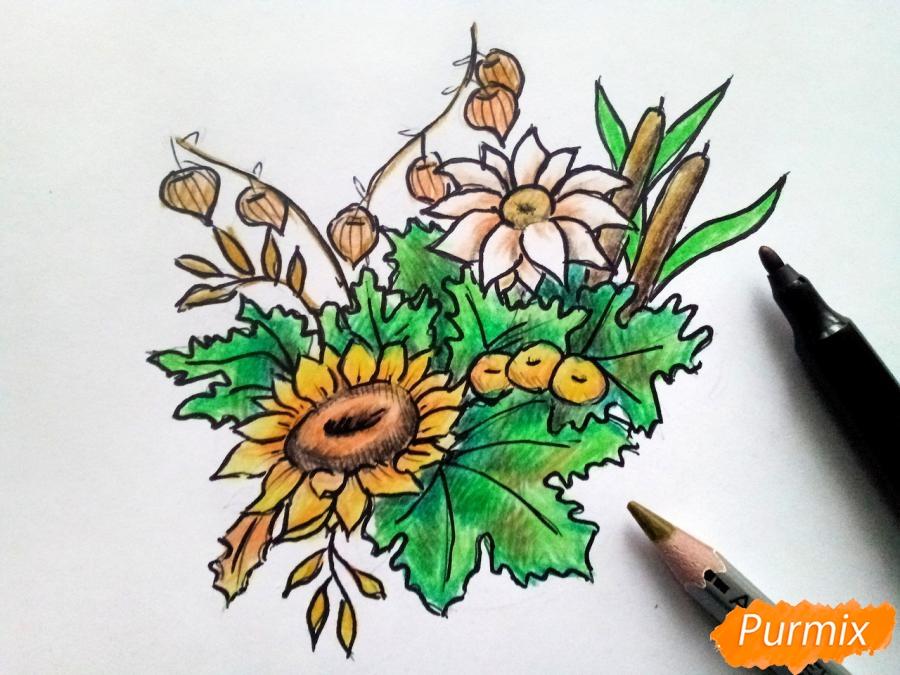 Рисуем букет осенних цветов - шаг 7