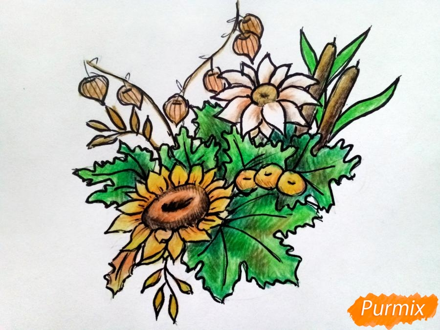 Рисуем букет осенних цветов - шаг 8