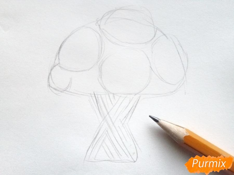 Рисуем букет подсолнухов цветными карандашами - шаг 2