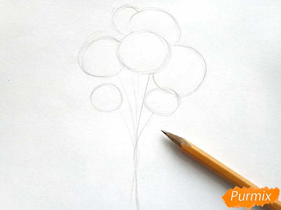 Рисуем букет ромашек цветными карандашами - шаг 1