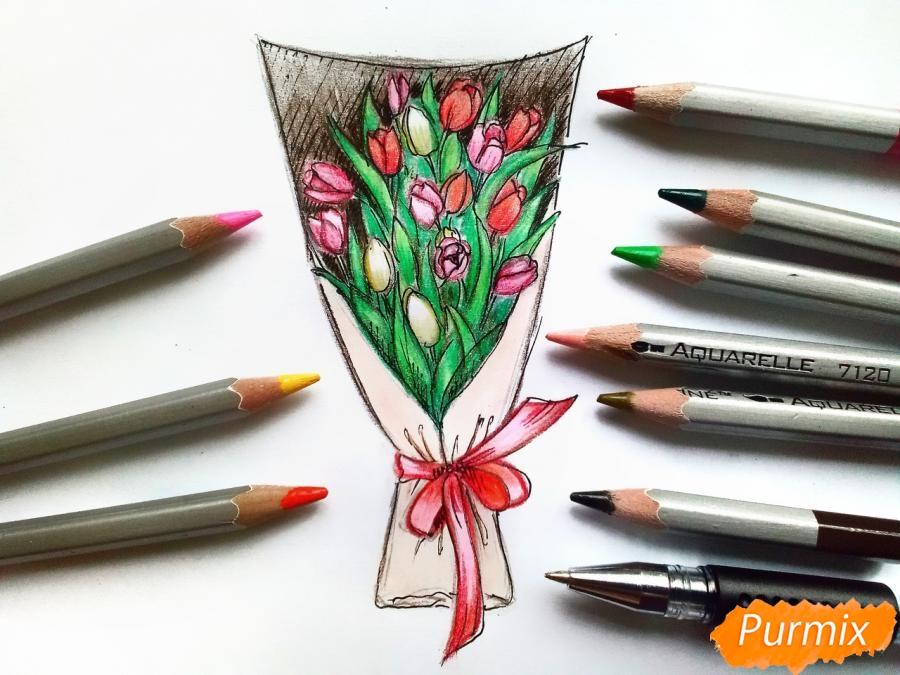Рисуем букет тюльпанов цветными карандашами - шаг 10