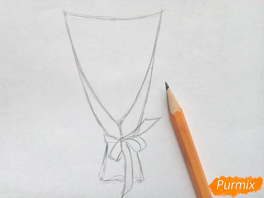 Рисуем букет тюльпанов цветными карандашами - шаг 2
