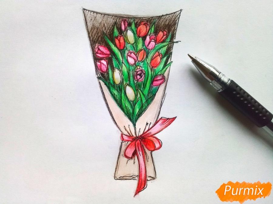 Рисуем букет тюльпанов цветными карандашами - шаг 9