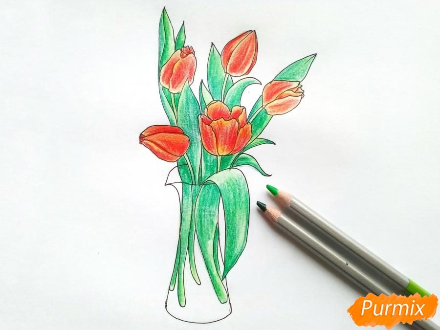 Рисуем тюльпаны в вазе - шаг 8