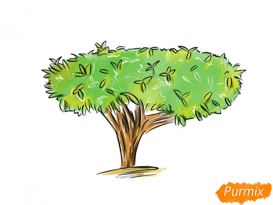 Рисуем чайное дерево осенью - шаг 10