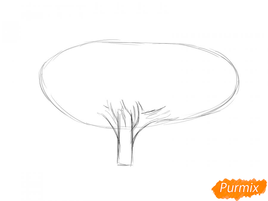 Рисуем чайное дерево осенью - шаг 3