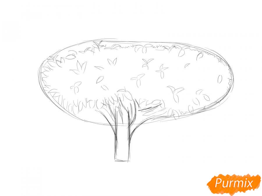 Рисуем чайное дерево осенью - шаг 4