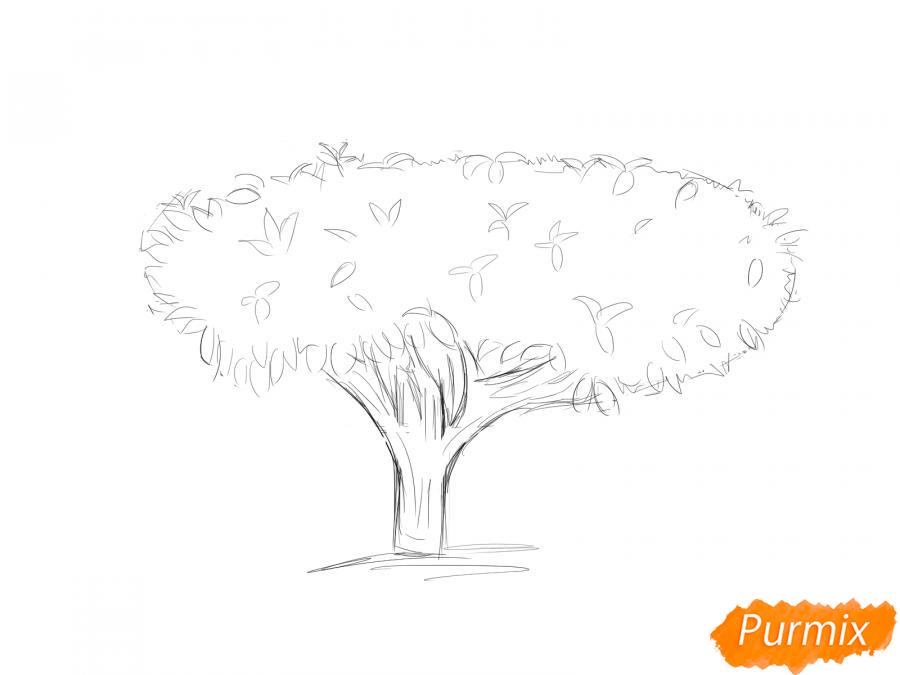 Рисуем чайное дерево осенью - шаг 5