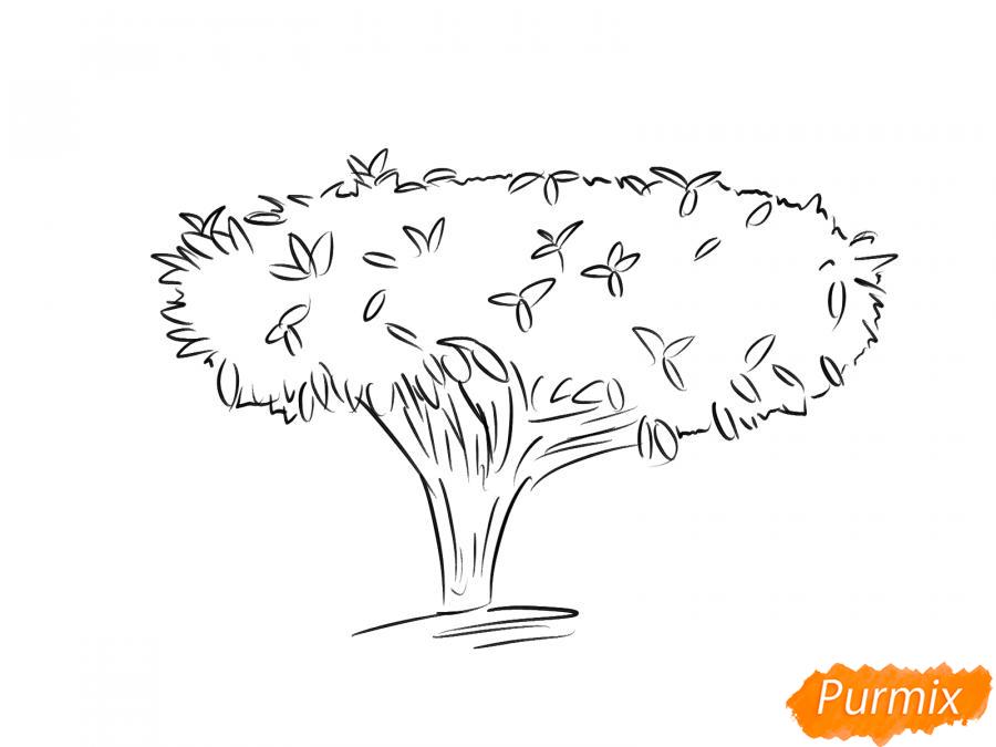 Рисуем чайное дерево осенью - шаг 6