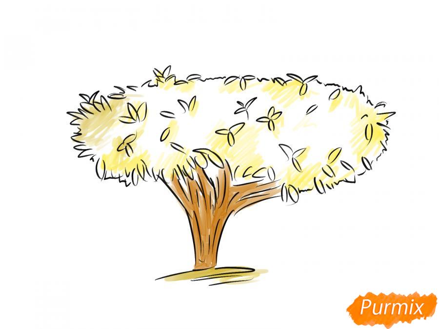 Рисуем чайное дерево осенью - шаг 8