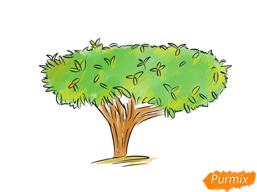 Рисуем чайное дерево осенью - шаг 9