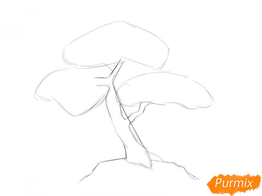 Рисуем чайное дерево карандашами - шаг 3