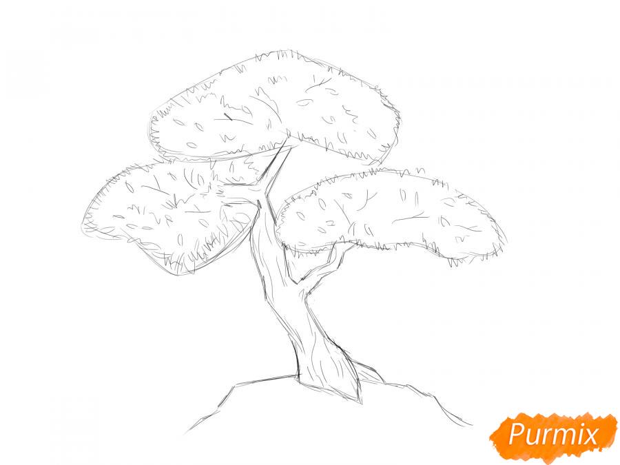Рисуем чайное дерево карандашами - шаг 4