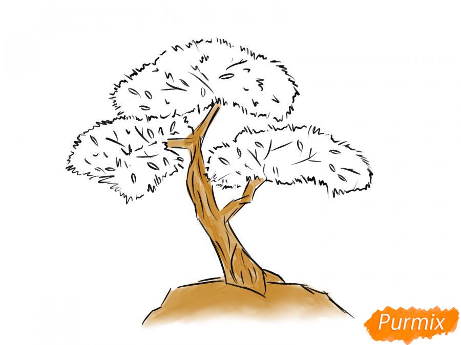 Рисуем чайное дерево карандашами - шаг 6