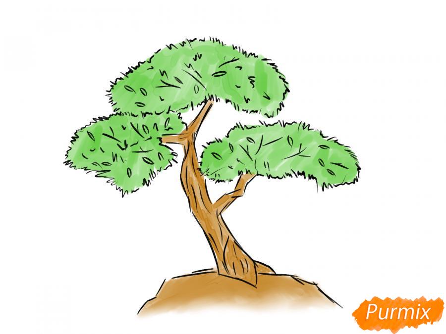 Рисуем чайное дерево карандашами - шаг 7