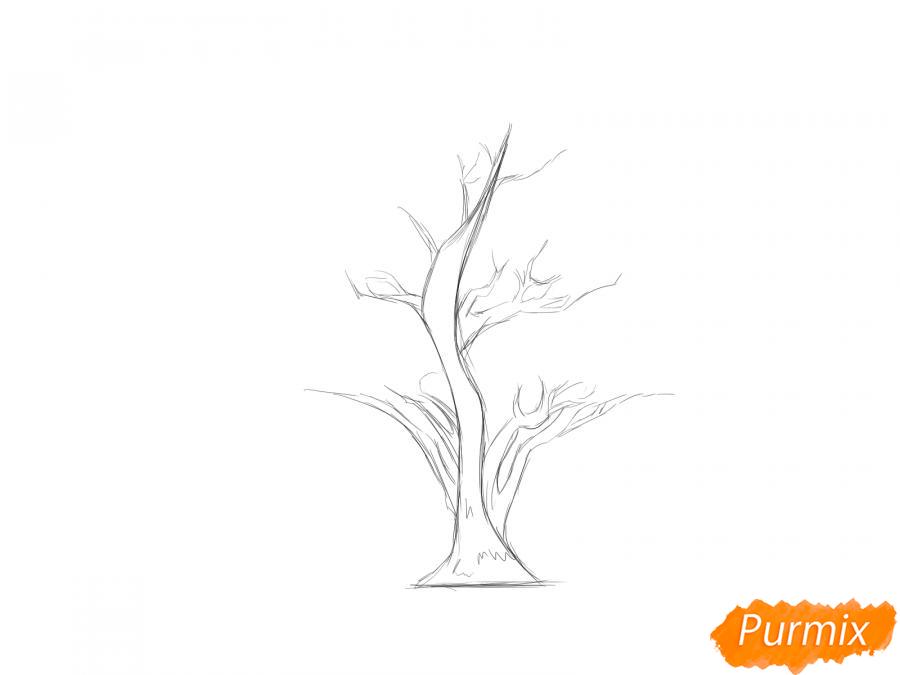 Рисуем чайное дерево весной - шаг 3